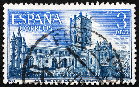 spaniard: SPAIN - CIRCA 1971: a stamp printed in the Spain shows Cathedral of St. David, Wales, circa 1971