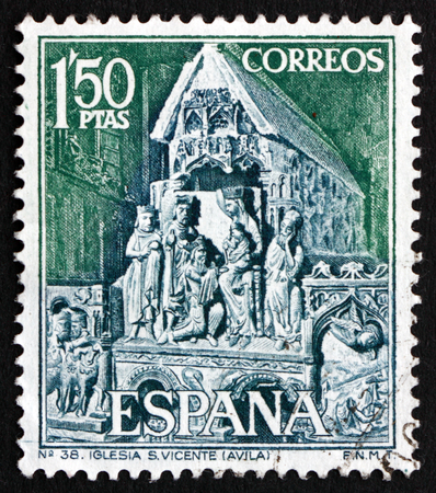 statuary: SPAIN - CIRCA 1968: a stamp printed in the Spain shows Statuary Group from St. Vincents Church, Avila, circa 1968