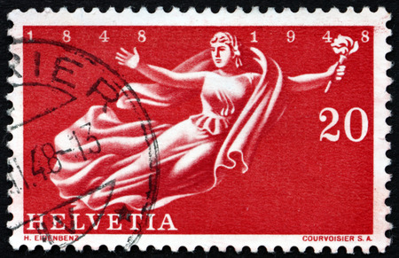helvetia: SWITZERLAND - CIRCA 1948: a stamp printed in the Switzerland shows Helvetia, Tercentenary, of the Acknowledgment of the Swiss Confederation, circa 1948