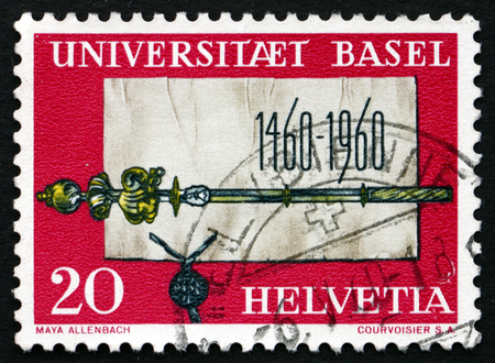 scepter: SWITZERLAND - CIRCA 1960: a stamp printed in the Switzerland shows Founding Charter and Scepter of University of Basel, 500th Anniversary of University of Basel, circa 1960