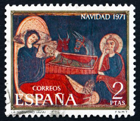 retablo: SPAIN - CIRCA 1971: a stamp printed in the Spain shows Nativity, Avia Altarpiece, Christmas, circa 1971