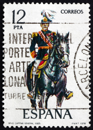 cavalryman: SPAIN - CIRCA 1978: a stamp printed in the Spain shows Captain General, Uniform from 1925, circa 1978 Editorial