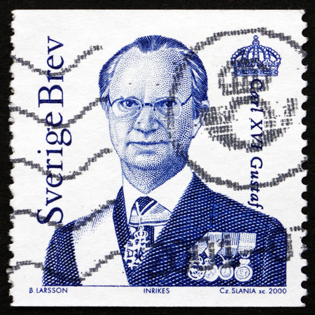 xvi: SWEDEN - CIRCA 2000: a stamp printed in the Sweden shows Carl XVI Gustaf, King of Sweden, circa 2000 Editorial