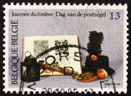artifacts: BELGIUM - CIRCA 1986: a stamp printed in the Belgium shows Artifacts, Stamp Day, circa 1986
