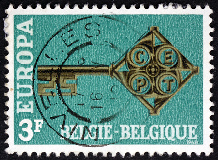 golden key: BELGIUM - CIRCA 1968: a stamp printed in the Belgium shows Golden Key, with C.E.P.T. Emblem, circa 1969