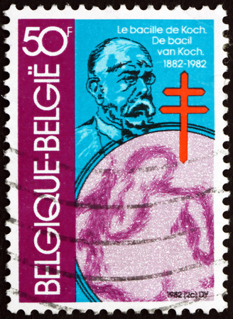 bacteriology: BELGIUM - CIRCA 1982: a stamp printed in the Belgium shows Robert Koch, German Physician, the Founder of Modern Bacteriology, circa 1982