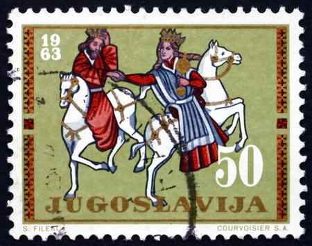 YUGOSLAVIA - CIRCA 1963: a stamp printed in the Yugoslavia shows King and Queen on Horseback, Beram Church, Istria, circa 1963
