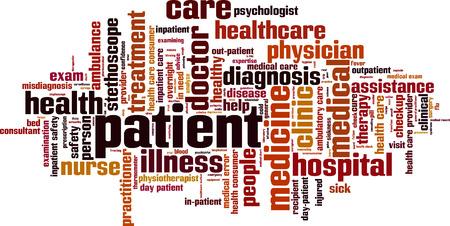 enfermera con paciente: Palabra Paciente concepto de nube. Ilustraci�n vectorial
