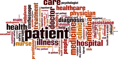 Patient word cloud concept. Vector illustration Stock Illustratie