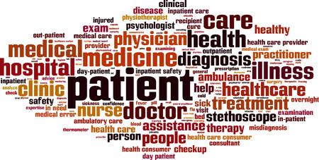 ヘルスケア: 患者の単語の雲の概念。ベクトル図