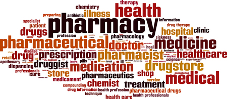dispensing: Pharmacy word cloud concept. Vector illustration Illustration