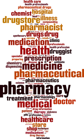 health professionals: Pharmacy word cloud concept. Vector illustration Illustration