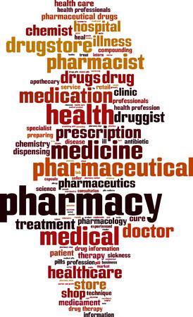 boticário: Pharmacy word cloud concept. Vector illustration Ilustra��o