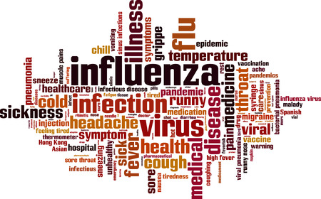 sick malady: Influenza word cloud concept. Vector illustration
