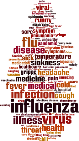 aching: Influenza word cloud concept. Vector illustration