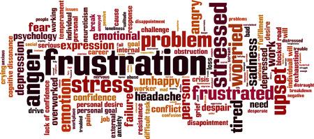frustration: Frustration word cloud concept. Vector illustration
