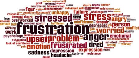 difficult task: Frustration word cloud concept. Vector illustration