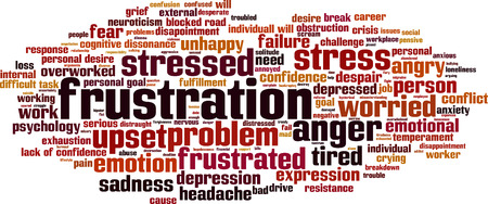 Frustration word cloud concept. Vector illustration