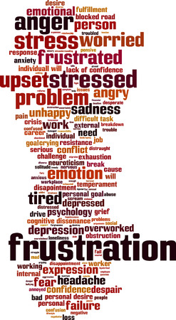 lack of confidence: Frustration word cloud concept. Vector illustration