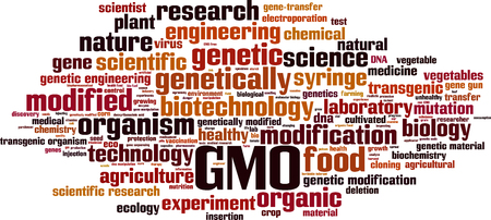 genetic modification: GMO word cloud concept. Vector illustration