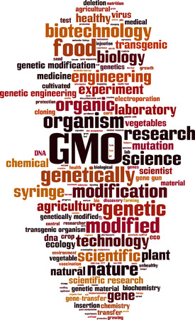 an agronomist: GMO word cloud concept. Vector illustration