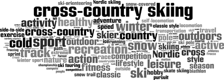 locomotion: cross-country skiing word cloud concept. Vector illustration