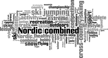 long jump: Nordic combined word cloud concept. Vector illustration