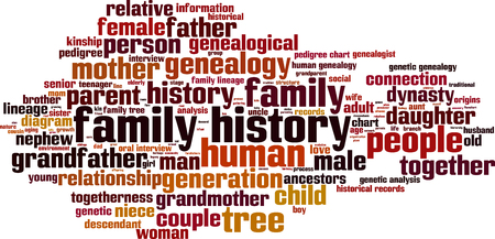 lineage: Family history word cloud concept. Vector illustration