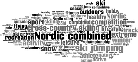 snow track: Nordic combined word cloud concept. Vector illustration