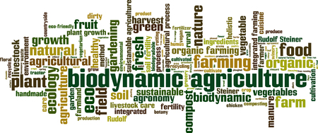 manure: Biodynamic agriculture word cloud concept. Vector illustration