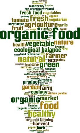 kitchen garden: Organic food word cloud concept. Vector illustration