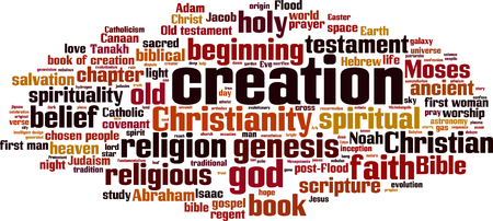 hebrew bible: Creation word cloud concept. Vector illustration Illustration