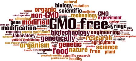 GMO free word cloud concept. Vector illustration Illustration