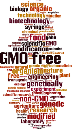genetic modification: GMO free word cloud concept. Vector illustration Illustration
