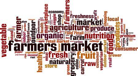 farmers market: Farmers market word cloud concept. Vector illustration