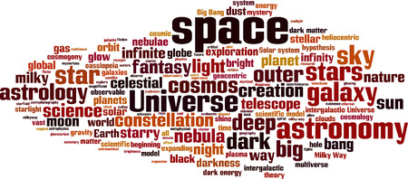 big bang theory: Space word cloud concept. Vector illustration
