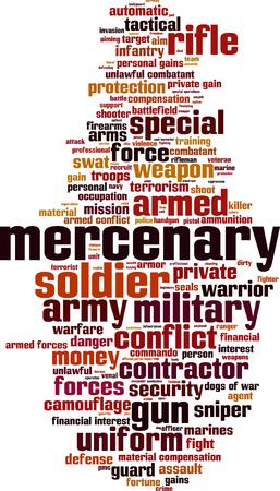 combatant: Mercenary word cloud concept. Vector illustration