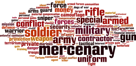 mercenary: Mercenary word cloud concept. Vector illustration