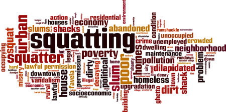 lawful: Squatting word cloud concept. Vector illustration