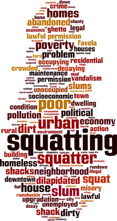 dilapidated: Squatting word cloud concept. Vector illustration