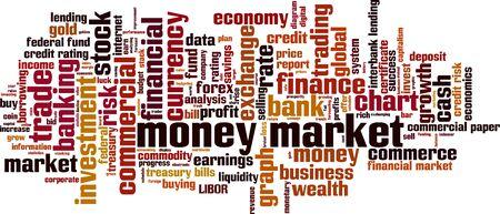 interbank: Money market word cloud concept. Vector illustration