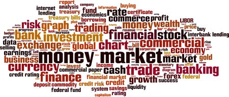 lending: Money market word cloud concept. Vector illustration