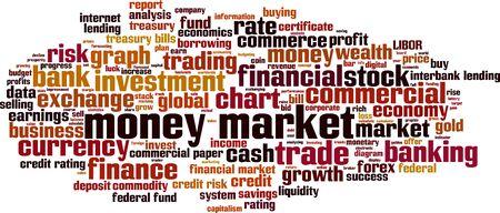 treasury: Money market word cloud concept. Vector illustration
