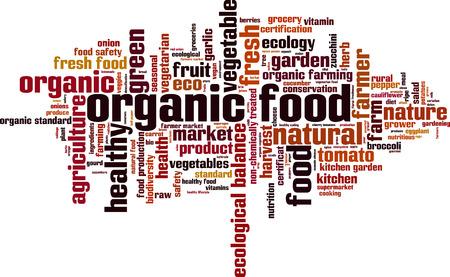 Mot alimentaire concept de nuage organique. Vector illustration