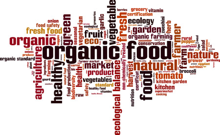 food production: Organic food word cloud concept. Vector illustration