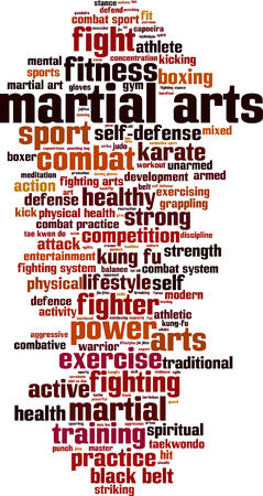 grappling: Martial arts word cloud concept. Vector illustration