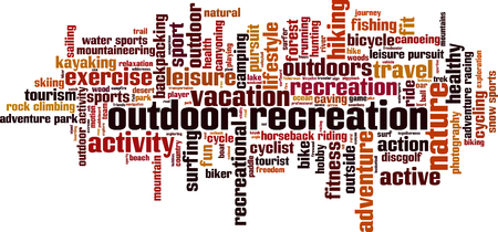 Outdoor recreation word cloud concept. Vector illustration