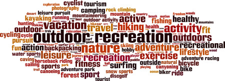 recreation: Outdoor recreation word cloud concept. Vector illustration