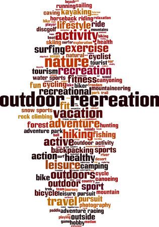 recreation: Outdoor recreation word cloud concept. Vector illustration