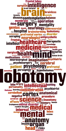 Lobotomy word cloud concept. Vector illustration